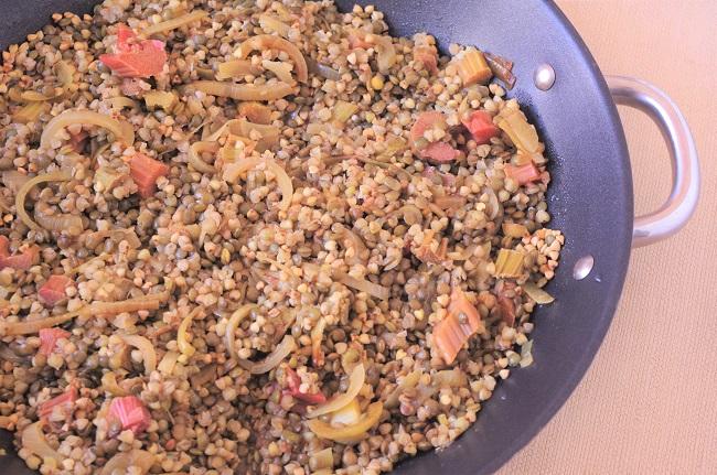 lentilles sarrasin rhubarbe en cuisson zoom