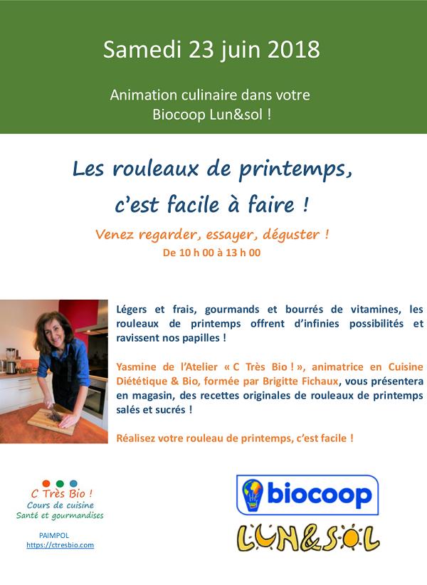l'Atelier C Très Bio ! en animation à la Biocoop de Paimpol Bretagne