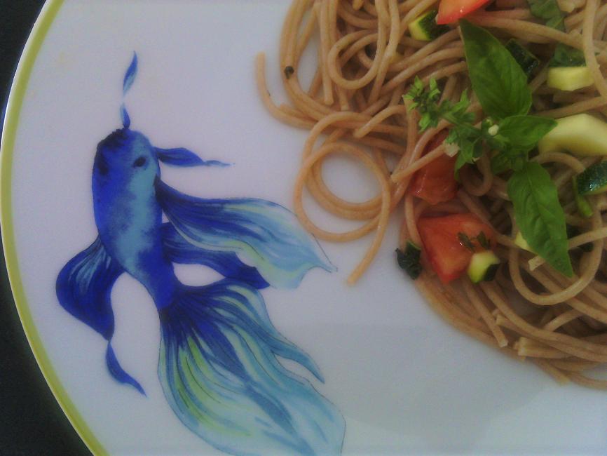 spaghettis petit épeautre aux légumes crus