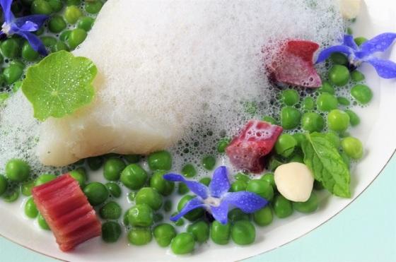Rhubarbe salée - poisson - petits pois - amandes - Paimpol - Cours de cuisine - Bretagne - Côtes d'Armor - Traiteur - C Très Bio -