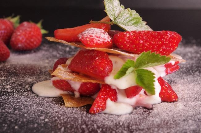 Millefeuillle - fraises - dessert - rapide - facile - express - vegan - végétarien - bio - recette - Paimpol - Côtes d'Armor - Bretagne - Cours de cuisine - Bord de mer